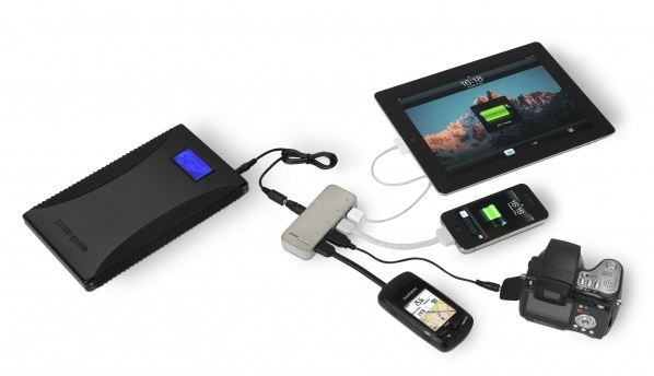 Spidermonkey charging 4 devices from PowerGorilla