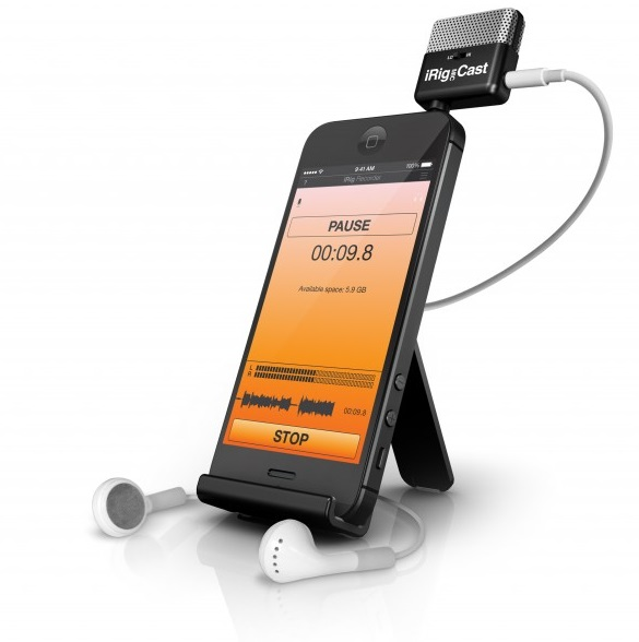 In use iRig Mic Cast Microphone