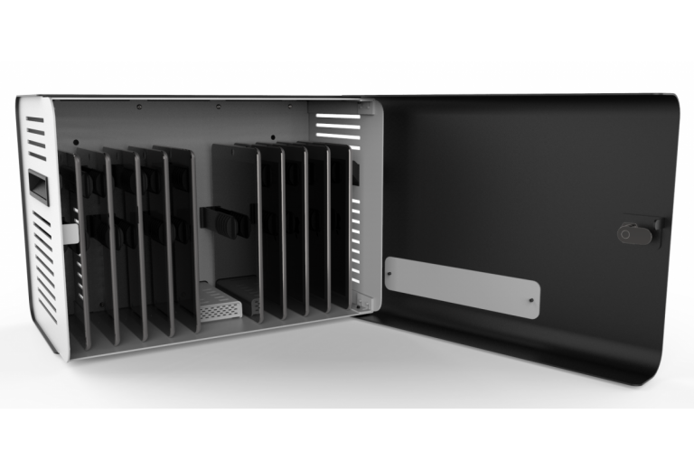 Compulocks ChargeBox secure charging locker is a lightweight storage option for up to 10 tablets with an integrated 10-port USB hub