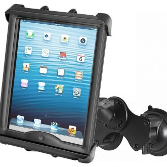 "RAM Double Twist Lock Suction Cup Mount with Tab-Tite™ Universal Spring Loaded Cradle for 10"" Tablets with HEAVY DUTY CASES"