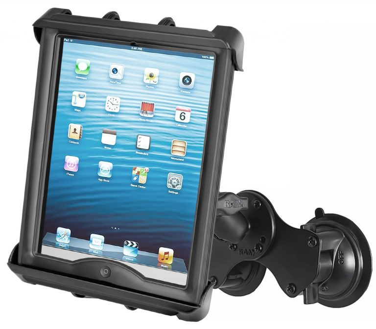 """RAM Double Twist Lock Suction Cup Mount with Tab-Tite™ Universal Spring Loaded Cradle for 10"""" Tablets with HEAVY DUTY CASES"""