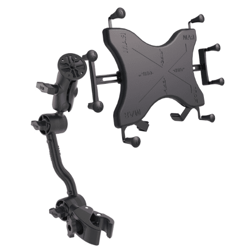 RAM X-grip cradle for 12 tablets plus tough claw extension arm wheelchair mount
