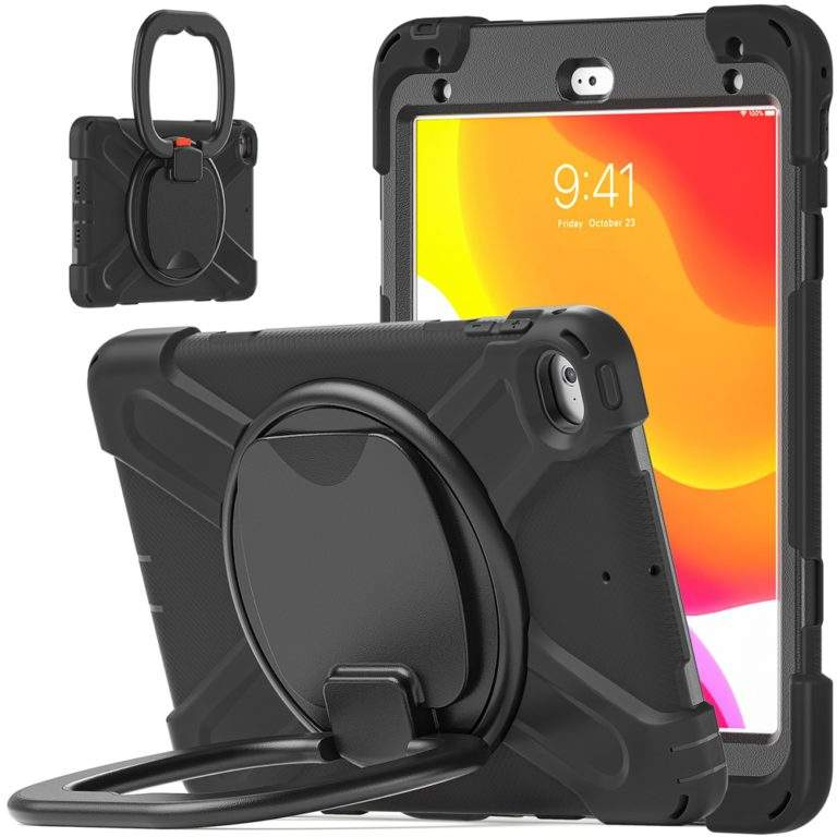 StylePro Shockproof Rugged Case with Ring Stand for iPad 10.2 black stand