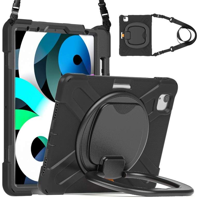 StylePro Shockproof Rugged Case with Ring Stand for iPad 10.2 black strap