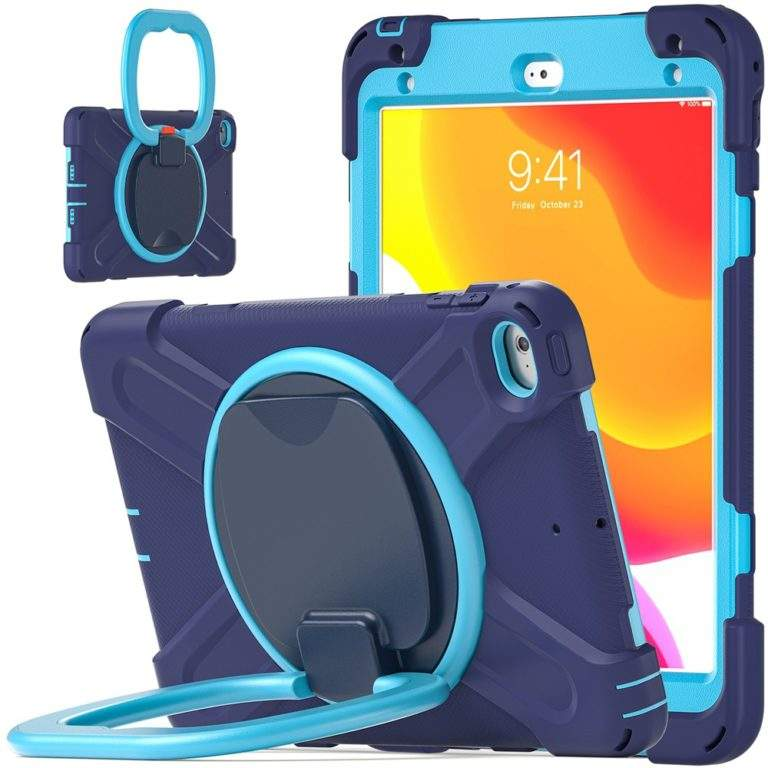 StylePro Shockproof Rugged Case with Ring Stand for iPad 10.2 blue stand