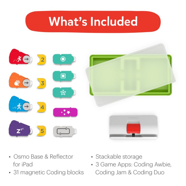 Osmo Coding Starter Kit for iPad for Ages 5-12 inclusions