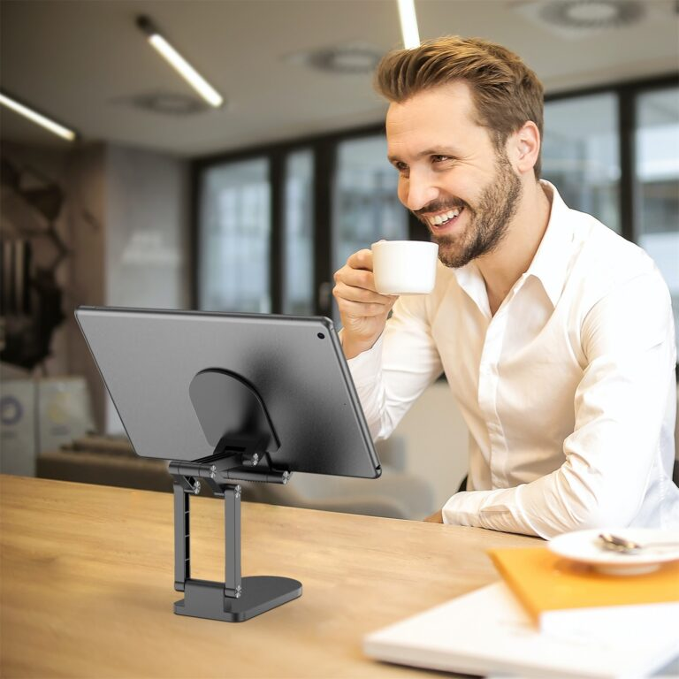 StylePro Adjustable Phone and Tablet Stand - Black on table top